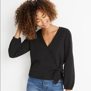 Madewell Texture and Thread Wrap Top in True Black